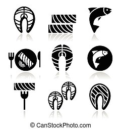 Salmon fish and meal - food icons - Vector icons set of...