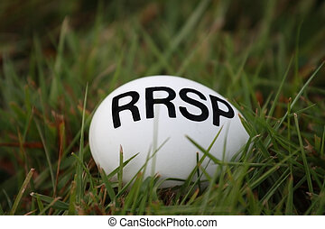RRSP Nest Egg - An egg with RRSP registered retirement...