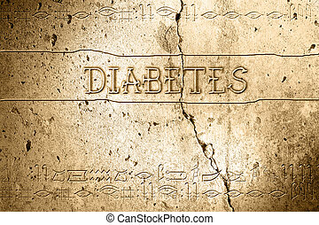 diabetes - word diabetes on wall with egyptian alphabet made...