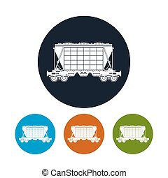 Icon hopper car for transportation freights , vector...