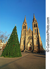 Church and christmas tree