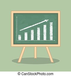 Bar Graph - Hand drawn bar graph on blackboard, flat design,...