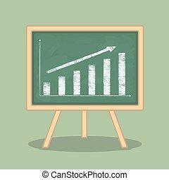 Bar Graph - Hand drawn bar graph on blackboard, flat design,...