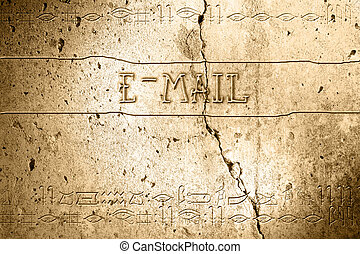 e-mail - word e-mail on wall with egyptian alphabet made in...