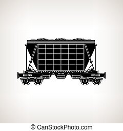Silhouette hopper car on a light background, vector...