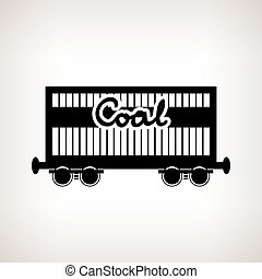 Silhouette the railway freight car for coal , vector...