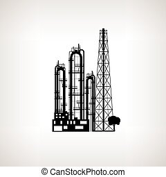 Silhouette of a chemical plant or refinery processing ,...