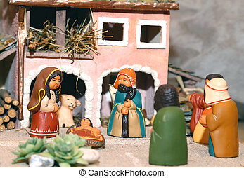 Nativity scene with Holy Family in South American style -...