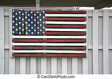 norteamericano, madera, bandera, cerca
