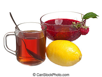 Anti-virus remedy - Glass cup with tea, lemon and raspberry...