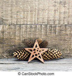 Christmas star with pine cones - Holiday decoration with...