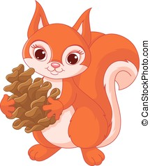 Squirrel with a pine cone - Little squirrel holding a pine...