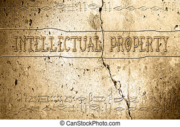 intellectual property - word intellectual property on wall...