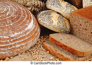 Cereals - Various fresh baked goods with wheat grain