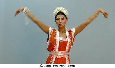 Beautiful girl in Indian dress - Close up view to Beautiful...