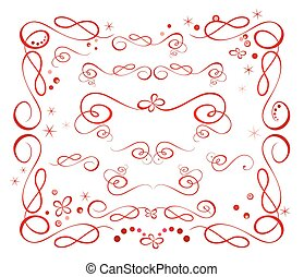Set of red holiday ribbon