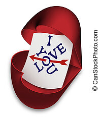 I Love You - open heart box - I Love You. Red open box as...