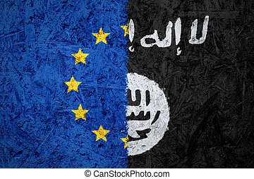 EU and Islamic State of Iraq and the Levant flags on the...