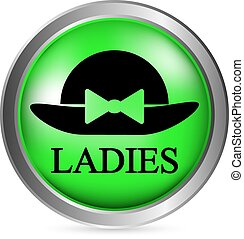 Female restroom symbol button in retro style. Vector...