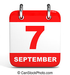 Calendar 7 September - Calendar on white background 7...