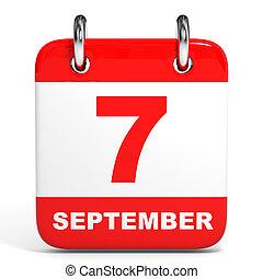 Calendar. 7 September. - Calendar on white background. 7...