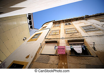 Oldtown alley - Clothes are drying on oldtown alley in...