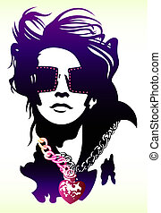 woman wearing sunglasses illustration