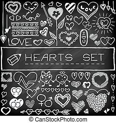 Doodle set of hearts and arrows with chalkboard effect...