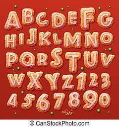 Christmas gingerbread cookies alphabet and numbers, vector...