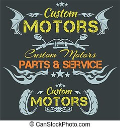 Zwyczaj, Motory, -, Wektor, emblemat, set.,