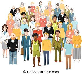 International group of people, old and young, from different...