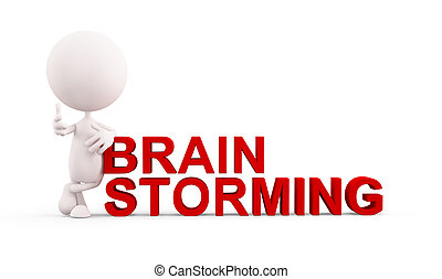 White character with brain storming - 3d white character...