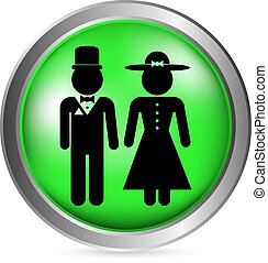 Male and female restroom symbol button in retro style Vector...