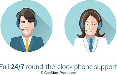 Full round-the-clock phone support icons - Full...