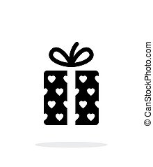 Gift box with hearts icons on white background. Vector...