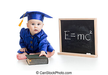 funny child in academician clothes at chalkboard - funny...