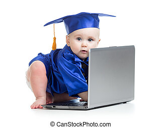 funny baby in academician clothes at laptop - funny baby...