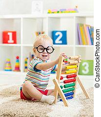 メガネ, そろばん, 遊び, 子供