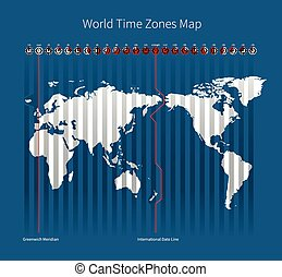 World Time Zones Map on blue background