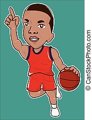 basketball player cartoon icon