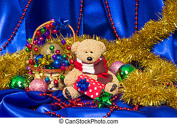 Charming small teddy bear with Christmas gift - Cute small...