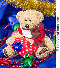 Cute teddy bear with Christmas decorations - Cute winter...