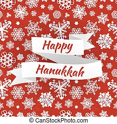 Happy Hanukkah card with snowflakes, vector illustration