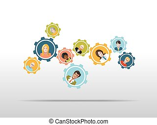People working in a team as gear mechanism. Vector illustration.