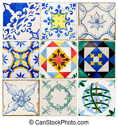 antique tiles of Lisbon - set of antique tiles asulejos of...