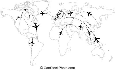 Airline routes on map infographic