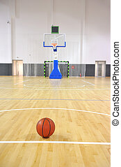 Basketball court, sports hall - Basketball court with ball...