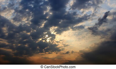 Sunlight dissipate on dark clouds - Tracery clouds in...