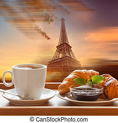 Eiffel Tower with cafe in Paris - Coffee and croissants...
