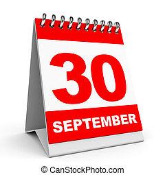 Calendar. 30 September. - Calendar on white background. 30...